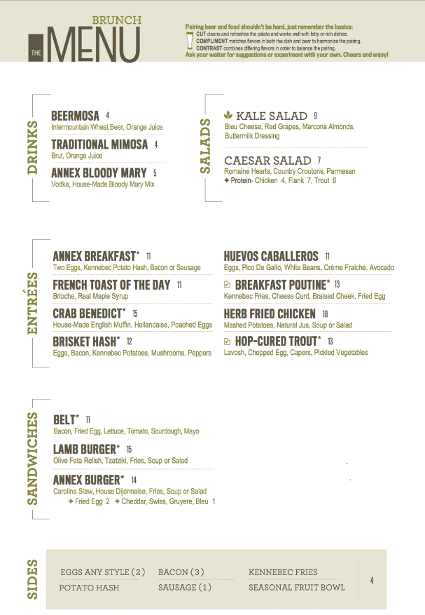 The Annex by Epic Brewing Brunch Menu