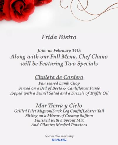 Frida Bistro Valentine's Day