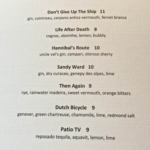 Under Current Cocktail Menu