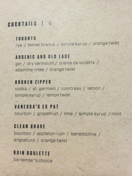 The Ruin Cocktail Menu