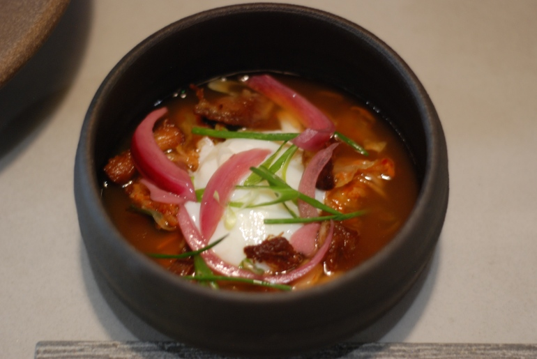 Kimchee Egg: Crispy Pork, Alliums, Pork Broth, $10