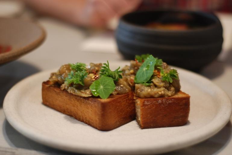 Eggplan Toast: Pullman Bread & Garden Herbs, $7