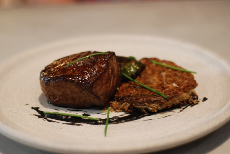 Jones Creek Beef: Zucchini, Black Garlic, Potato Latke, $30