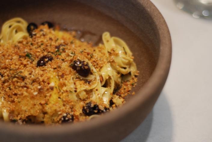 Pasta Alla Chitarra: Autum Squash, Olive & Piave Crumbs, $20